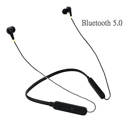 MSUN Auricolari Bluetooth con Microfono, 9 Ore di autonomia, Stereo, Wireless, Bluetooth, con Microfono, Bluetooth 5.0, impermeabilità IPX4, per Sport, Palestra, Corsa, Musica, Colore Nero