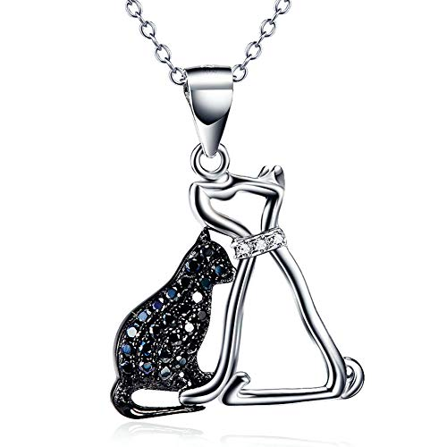 Collar con colgante de perro de gato de plata de ley 925 para mujer