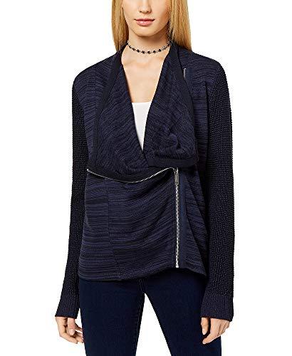 INC International Concepts Women's Mixed-Knit Zip-Front Cardigan (Ink Berry, Medium)