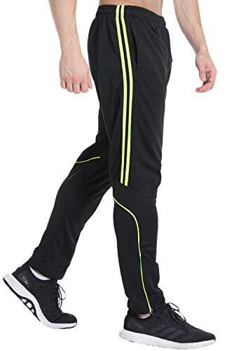 FITTOO Pantalon Jogging Homme Sport Fitness Occasionnels Respirant survêtement Rayure Entraînement Gym,Rayure Verte,XL