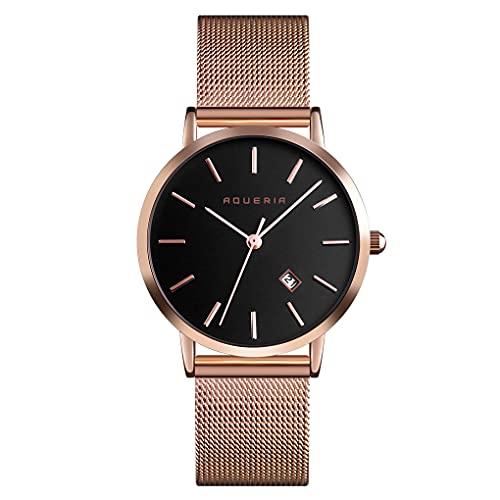Aqueria Reloj de pulsera para mujer, oro rosa, negro, malla milanesa, sencillo, resistente al agua, indicador de fecha.