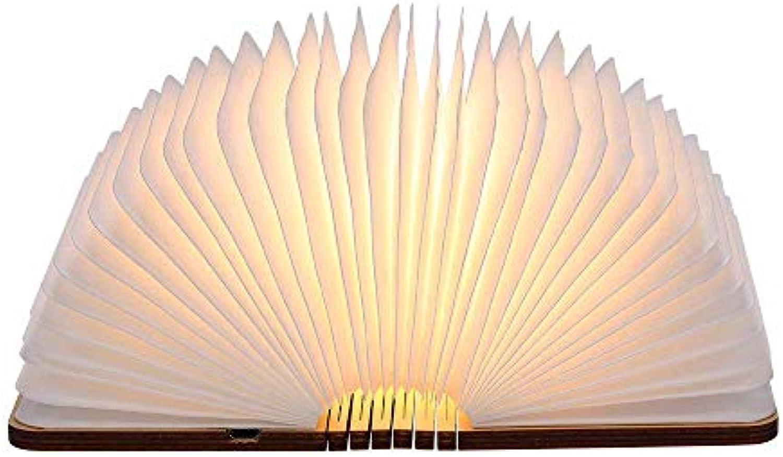 Xiuxiu Land Holz Faltbare Wiederaufladbare Tischlampe USB Buch Lampe Dekorativ Stimmung   Nachtlichter (Warmes Wei)