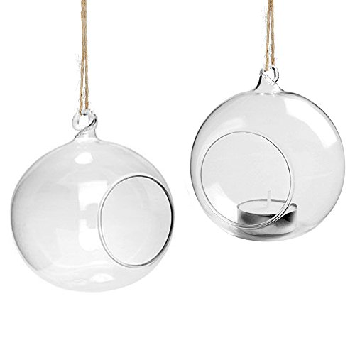 Youseexmas Hanging Glass Bauble Sphere Ball Candle Tea light Holder Terrario da Giardino, Diametro: 80 mm, Confezione da 4