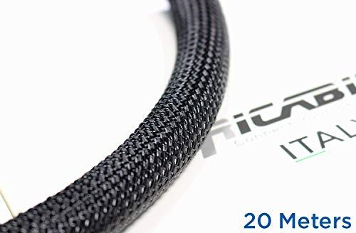 Ricable Custom BB20/20 - Negro/Negro 20 MT - Funda Trenzada expandible para Cable 16-22 mm