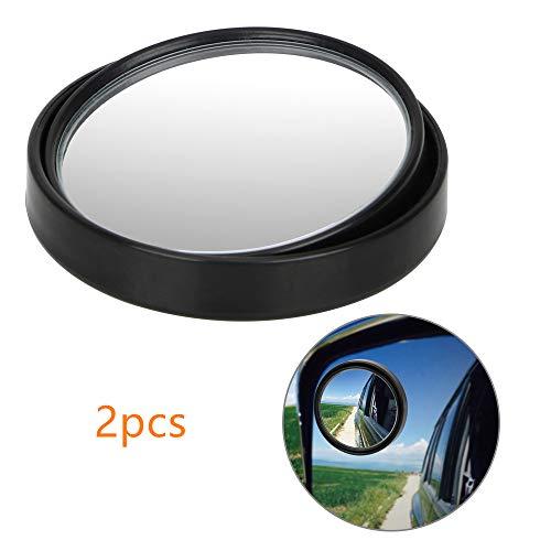 JMAHM 2 stks Blind Spot Spiegels Auto 360° Universele Verstelbare Glas Brede Hoek Rond Convex Achteruitkijkspiegel 50mm in diameter Zwart
