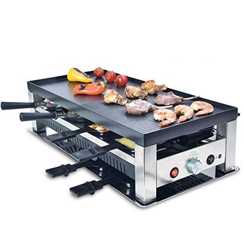 Solis Grill 5 in 1, Raclette/ Tischgrill/ Wok/ Crêpes/Pizza, 8 Personen, Edelstahl, Table Grill 5 in 1 (Typ 790)