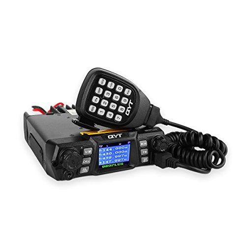QYT KT-980 Plus VHF UHF 75W Dual Band Quad-Standby Base Mobile Car Amateur Ham Radio Walkie Talkie Transceiver + Programming Cable