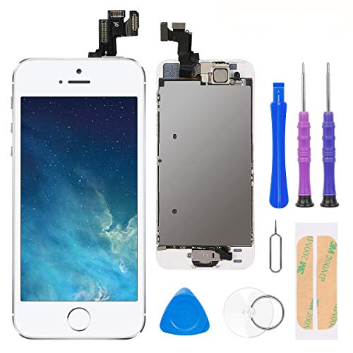 Compatible with iPhone 5S/SE Screen Replacement White 4.0 Inch Full Assembly LCD Display Digitizer with Front Camera, Ear Speaker, Proximity Sensor and Repair Tool Kit