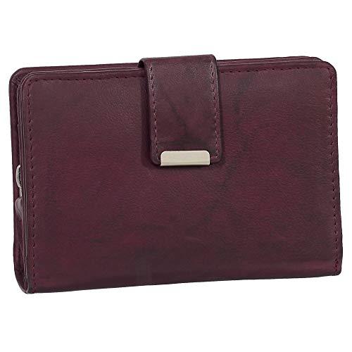 Ledershop24 RFID Damen Leder Geldbörse Damen Portemonnaie Damen Geldbeutel - Farbe Bordeaux - Geschenkset + exklusiven Ledershop24 Schlüsselanhänger