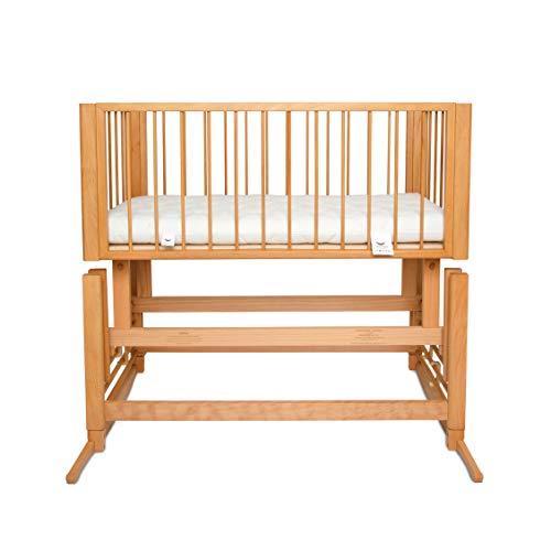 Berceau pour enfant DREAMER 2 en 1 – avec bascule vers l'avant & lit bébé pour le lit des parents, matelas écologique   Produit 100% naturel fait à la main en Europe – Couleur du cadre – bois naturel