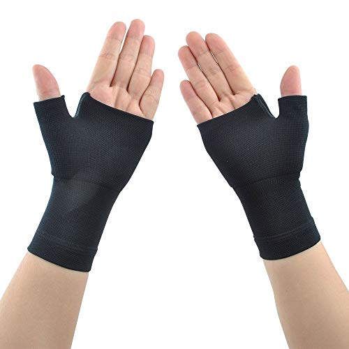 Compression Arthritis Gloves (1 Pair) for Carpal Tunnel, Computer Typing,Athletes/Sports Cycling,Play Tennis Basketball Wrist Pain and Fatigue, and Arthritis (Black, M)