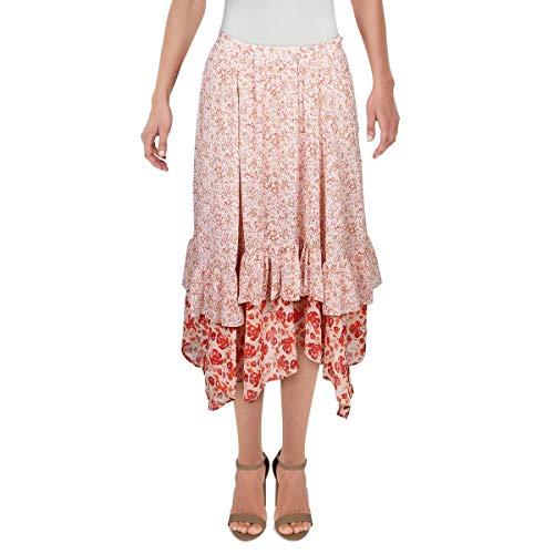 Free People Women's Zuma Drippy Ruffle Skirt, Size 4 - Red