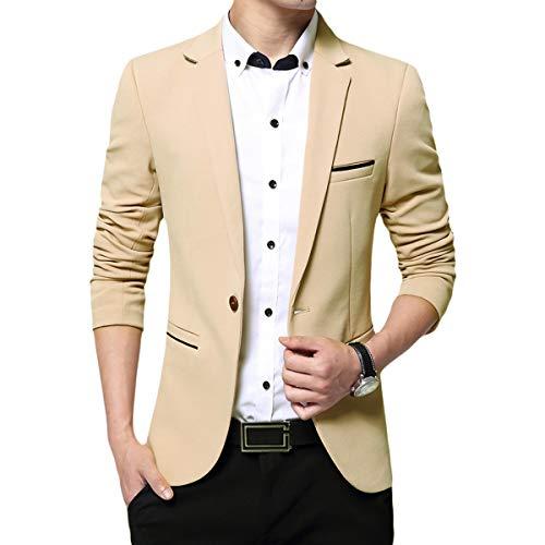 Blazer - Chaqueta de disfraz para hombre, diseño elegante y formal para boda, negocios, veladas caqui L