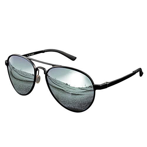 CHEREEKI Gafas de sol Hombre polarizadas,  Gafas de Sol Aviador Hombres Mujeres Protección UV400 para Conducción Verano Deportes Moda Gafas de sol (Oscuro- plata)