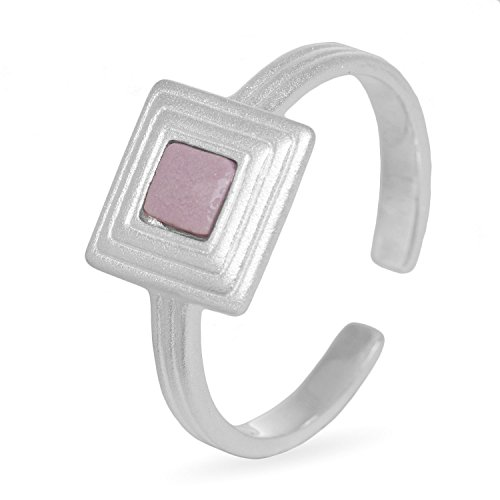 Louise Kragh Ring Gold - Goldring Damen Porzellan Quadrat Grau - Pyramid-Serie Farbe Heather - 925 Sterling Silber Größe 54-56 - PYR0401HEAs
