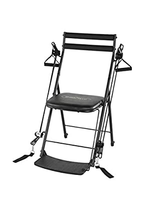 Chair Gym - The Total Body Workout – All in One Compact, Portable and Easy to Use at Home Exercise System Includes 5 Instructional DVDs + Bonus Twister Seat Ab Attachment As Seen on TV - Black