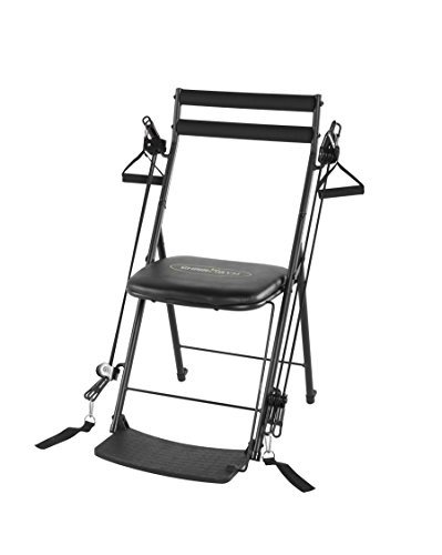 Chair Gym - The Total Body Workout - All in One Compact, Portable and Easy to Use at Home Exercise System Includes 5 Instructional DVDs + Bonus Twister Seat Ab Attachment As Seen on TV - Black