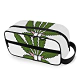Cartoon Marijuana Smiling Happy Toiletries Bag with Zippers Travel Bags for Toiletries Carry-on Travel Accessories Travel Kit for Men and Women Toiletries Bag for Toiletries Accessories