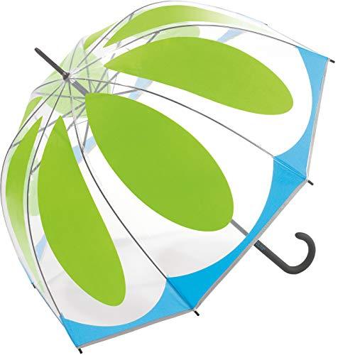 Benetton Regenschirm, transparent, kuppelförmig, Blumenmuster, Grün