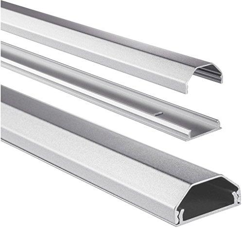 Hama, Canalina per cavi in alluminio, squadrata, 110 x 3,3 x 1,7 cm, Argento
