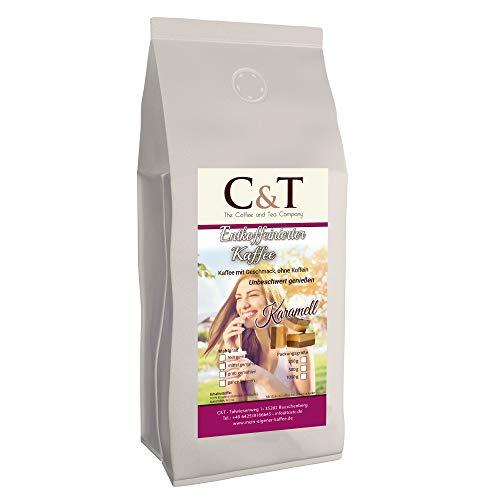 Kaffee mit Geschmack, ohne Koffein! Entkoffeinierter Kaffee mit natürlichen Aromen: Karamell 1000 g GANZE BOHNEN