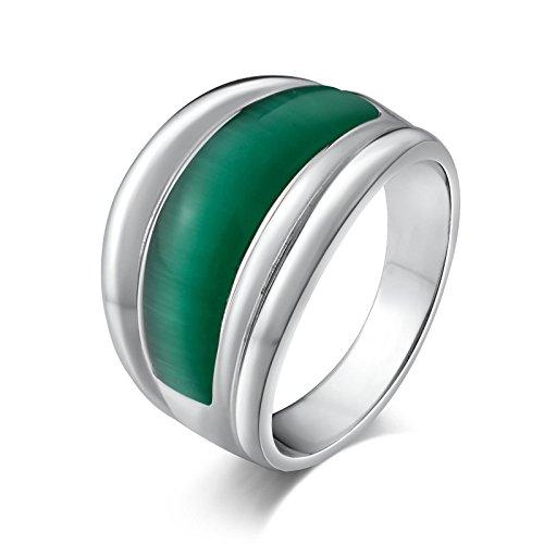 Aundiz Edelstahl Ring Halbbogen Siegelring Opal Silber Size 60 (19.1) Herrenring