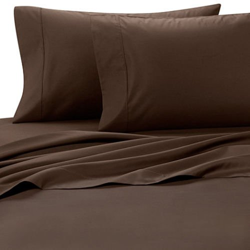 Deluxe' Solid Bed Sheet Set 100 Percent Egyptian Cotton Fine Single Yarns 1200 Thread Count Features Indulgently Soft Surface with a Lovely Sheen!! Set includes Fitted, Flat and Pair of Pillow Cases. Deep Pocket Fitted Sheet up to 18 Inches (Olympic Queen, Chocolate)