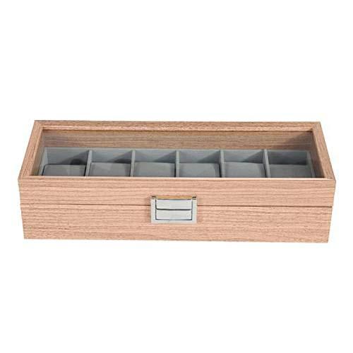 Organizador de joyas de madera con 6 ranuras para relojes de pulsera de joyería, soporte de exhibición de la caja de almacenamiento