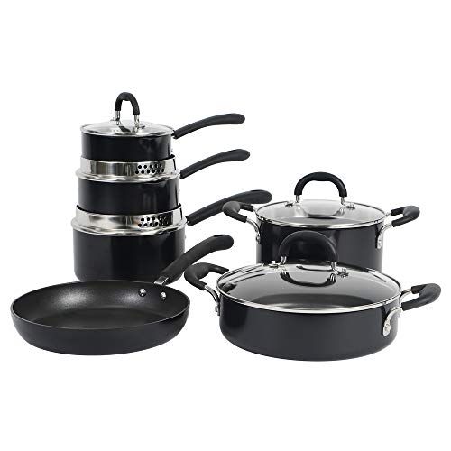 ProCook Gourmet Non-Stick Induction Cookware Set - 6 Piece - Strain & Pour Induction Pans with Toughened Glass Lids and Non-Slip Stay-Cool Handles