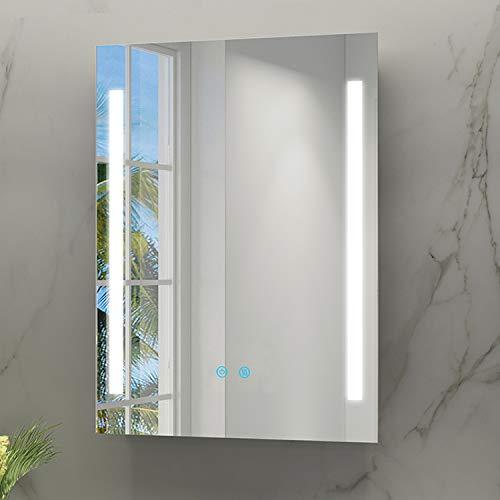 IMPTS Badspiegel 70x50cm Badezimmerspiegel mit LED Beleuchtung Touchschalter Beschlagfrei Dimmbar neutralweiß 4000K IP44