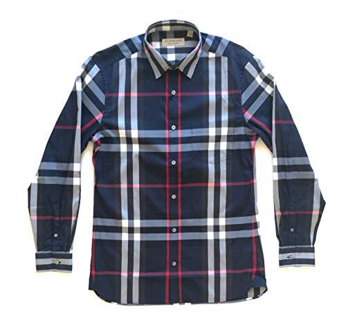 Burberry Nelson 40067311 - Camisa de manga larga de algodón para hombre, color azul marino