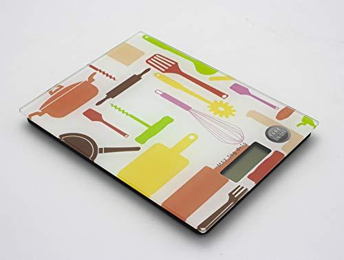 Báscula Digital para Cocina de Acero Inoxidable, 1g/5kg Bascula Comida de Precisión, Balanza de Alimento Multifuncional, Peso de Cocina con LCD Retroiluminación (20x15.5cm, MOTIVO ACCESORIOS)