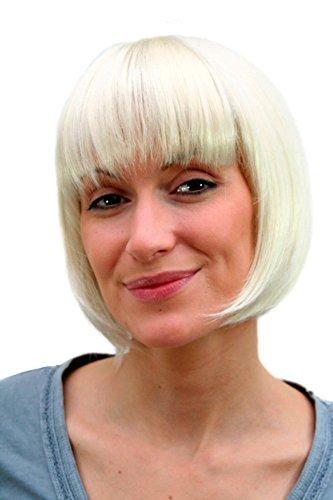 WIG ME UP ® - 703-613 Bob Perücke Platinblond Perlblond kinnlange kurze Haare mit Pony-Frisur