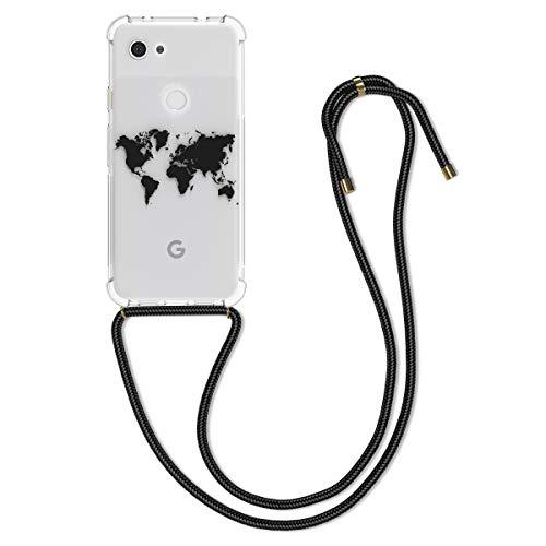 kwmobile Schutzhülle kompatibel mit Google Pixel 3a - Hülle mit Kordel zum Umhängen - Silikon Handy Hülle Travel Umriss Schwarz Transparent