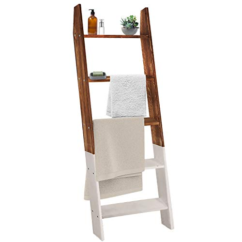 Qlf yuu 4 ft Farmhouse Blanket Ladder,Rustic Wall-Leaning Wooden Ladder, Decorative Ladder,Blanket Holder,Quilt Blanket Rack Stand, Blanket Ladders for The Living Room, Blanket Display Ladder Shelf