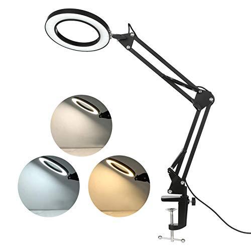 Lampada con Pinza 12W,Lampada da Tavolo Lampada da Scrivania a LED con Morsetto LED da Tavolo a Clip con Collo Flessibile 3 Modalità di Colore 10 Luminosità Dimmerabile Lampada da Scrivania