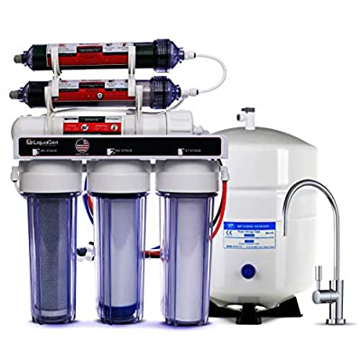 LiquaGen - Dual 6 Stage Under Sink Reverse Osmosis Drinking & Aquarium Deionization (RO/DI) Water Filter System (Universal pH Alkaline 100 GPD)