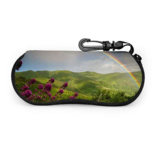 DUKAI Brillenetui, Rainbow After Storm Sonnenbrille Softcase Ultraleichtes Neopren-Reißverschluss-Brillenetui mit Karabinerhaken, Sonnenbrillenetui