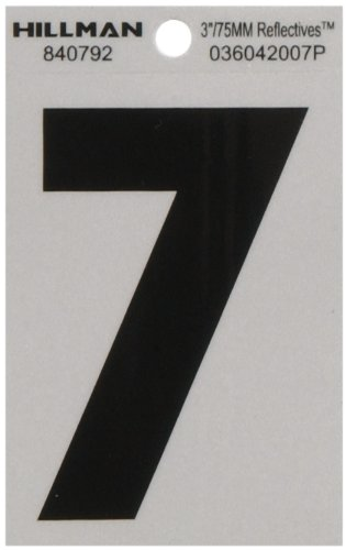 """Hillman 840792 3"""" Black and Silver Reflective Poly-Film Adhesive Number 7"""