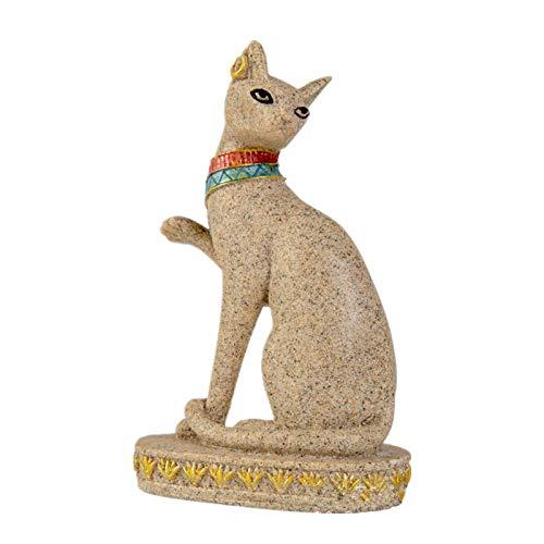 ZSQZJJ Jardín al Aire Libre Escultura Figura Estatua decoración,Estatua de Gato de Piedra Arenisca de Egipto Figuras de Fengshui religiosas Estatuillas de Animales