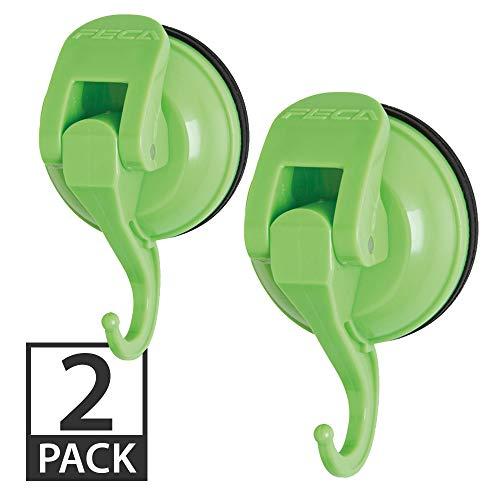 Leistungsstark Push und Lock Farbe Pop Saugnapf Haken Large-2PK Grün