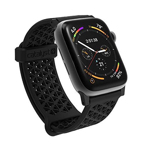 Kompatibel mit Apple Watch Serie 5 und 4, 44 mm, Serie 1,2,3, 42 mm, hypoallergenes Uhrenarmband, atmungsaktives Armband, weiche Silikon-Ersatzbänder, Sportband für iWatch von Catalyst - Schwarz