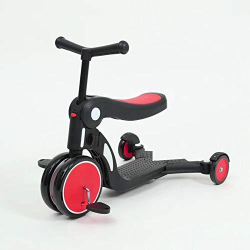 LITIAN Multifunktionale Fünf-in-one-Kinder Scooter 1-6 Jahre alt Pedal Dreirad Can Sit Red