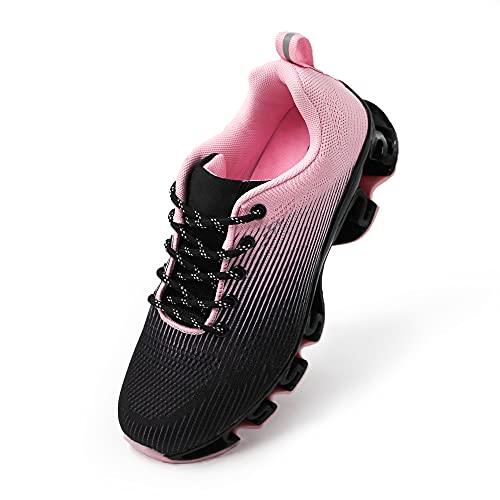 JOMIX Scarpe Donna da Corsa Running Ginnastica Tennis Sneakers Sportive Leggere Comode Chiusura a Lacci Suola Ammortizzata a Molle SD2655 (01 Nero Fuxia, 36)