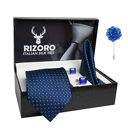 Rizoro Mens Plaid Dotted Silk Necktie Gift Set With Pocket Square Cufflinks & Brooch Pin Formal Tie With Leatherite Box (A13RX Free Size)