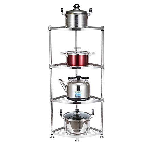 YQQ-Regal Küchenregale Rostfreier Stahl Eckzarge Mehrschichtiges Triangle Pot Shelf Reiskocher Regal Lagerregal Speichereinheit