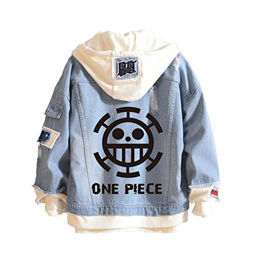 FS LIFE One Piece Anime Denim Jacket Graphic Hoodie (Black, XXL)