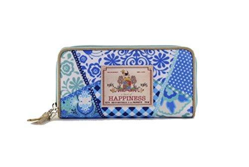 HAPPINESS Wallet Blue Portmonnaie Geldbeutel Brieftasche