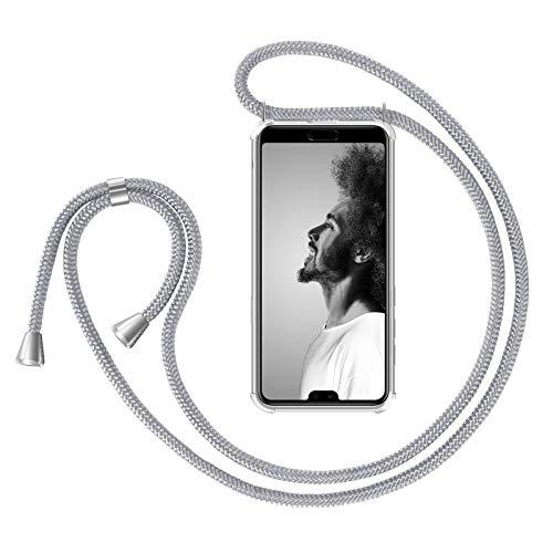 ZhinkArts Handykette kompatibel mit Huawei P20 Pro - Smartphone Necklace Hülle mit Band - Handyhülle Case mit Kette zum umhängen in Weiß - Silber