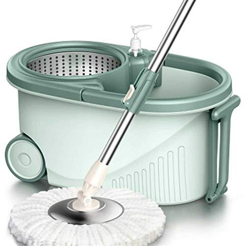 Adesign Spin Mop Bucket - Acero Inoxidable Deluxe 360 Spin Seco Cesta Seca Huracán Spinning Mop Bucket Kit, 2 Cabezas de Microfibra Reemplazo